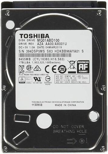 Picture of Toshiba 1TB Internal Laptop HDD 2.5 Inch-7mm